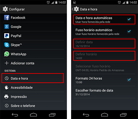 Como Alterar Data e Hora no Android
