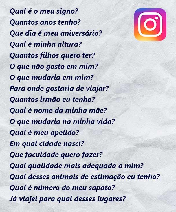 perguntas para o teste do instagram