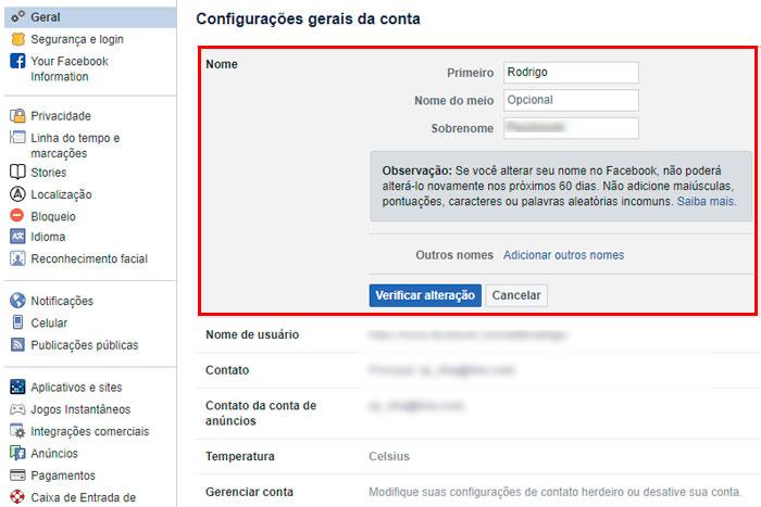 configurações gerais do Facebook